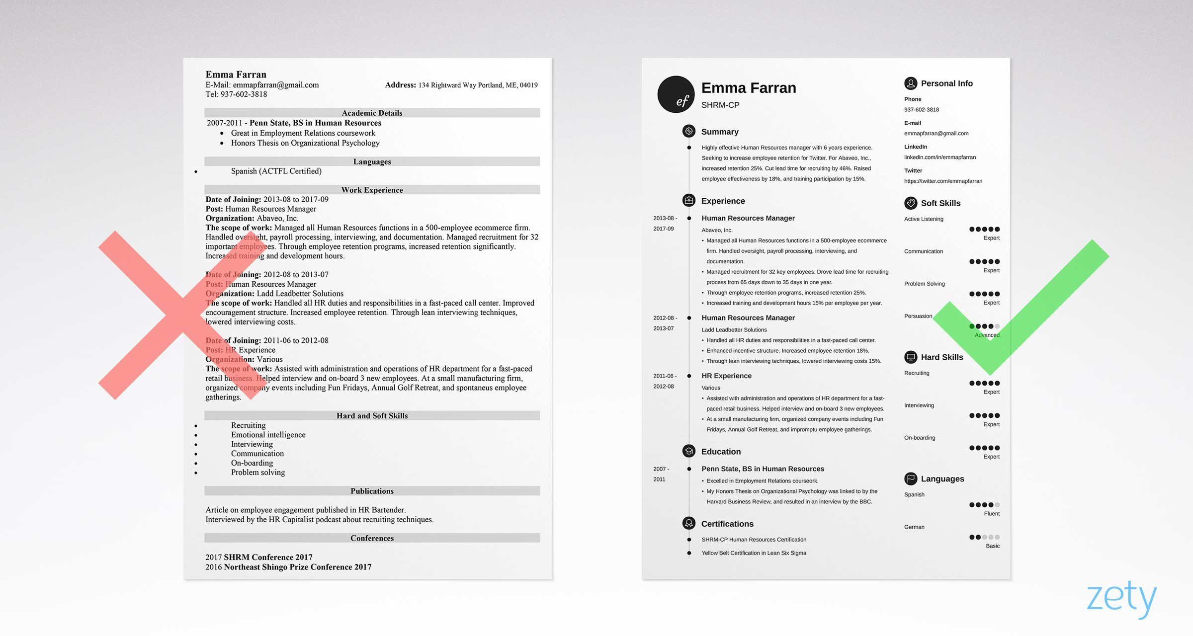 right and wrong basic resume examples comparison