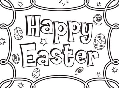 Wish everyone a Happy Easter with this Easter coloring page! Just ...