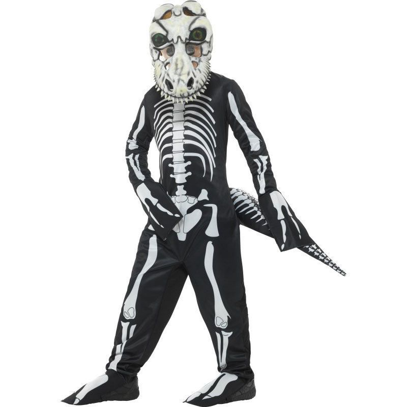 Child Deluxe T-Rex Skeleton Costume Halloween Dinosaur Boys Fancy Dress Outfit
