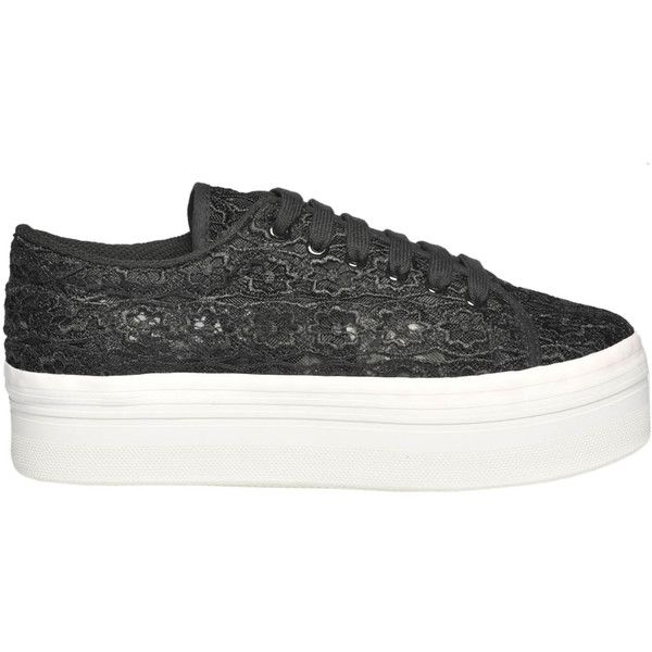 JC Play Lace Sneakers (39.495 CLP) ❤ liked on Polyvore featuring shoes, sneakers, lacy shoes, lace shoes, jeffrey campbell sneakers, platform trainers and round toe sneakers