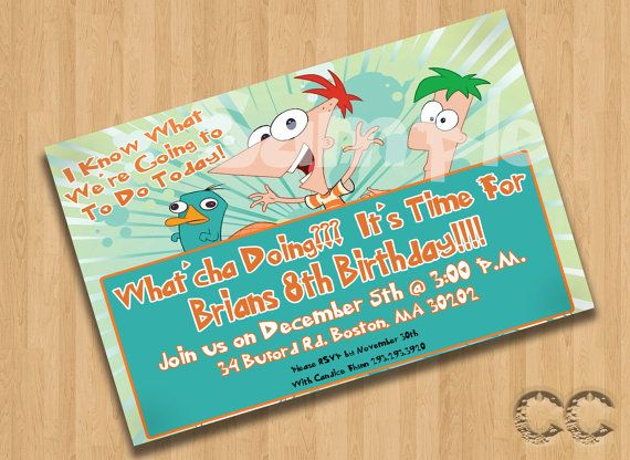 Phineas And Ferb Birthday Party Invatation By CraftCrasherDesigns 600
