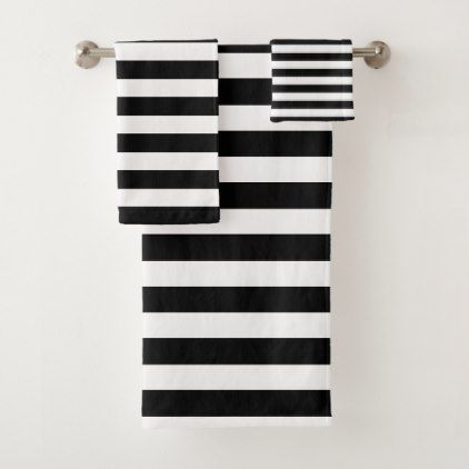 Modern Black And White Striped Bath Towel Set Zazzle Com With
