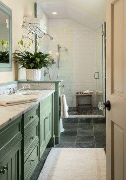 farmhouse master bath. slate floor. carrera marble vanity