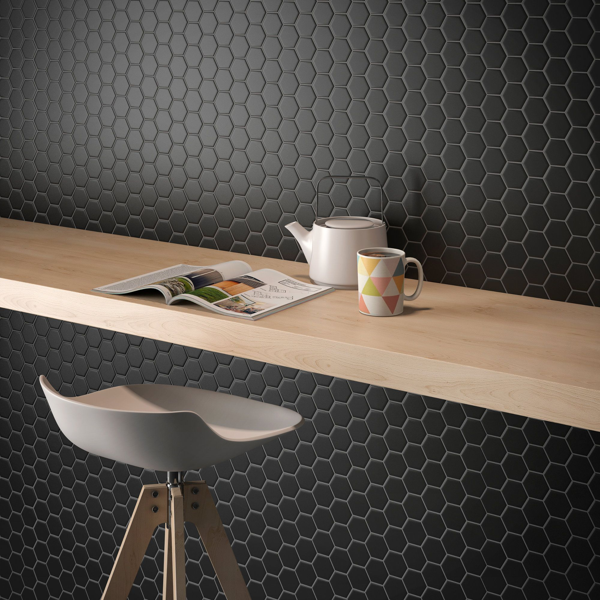 Black matte cc mosaics collection ceramic tiles by roca cc small black hexagon mosaic tiles for floors and walls also available in white grey small black hexagon mosaic hexagon tiles are a design classic and can dailygadgetfo Images
