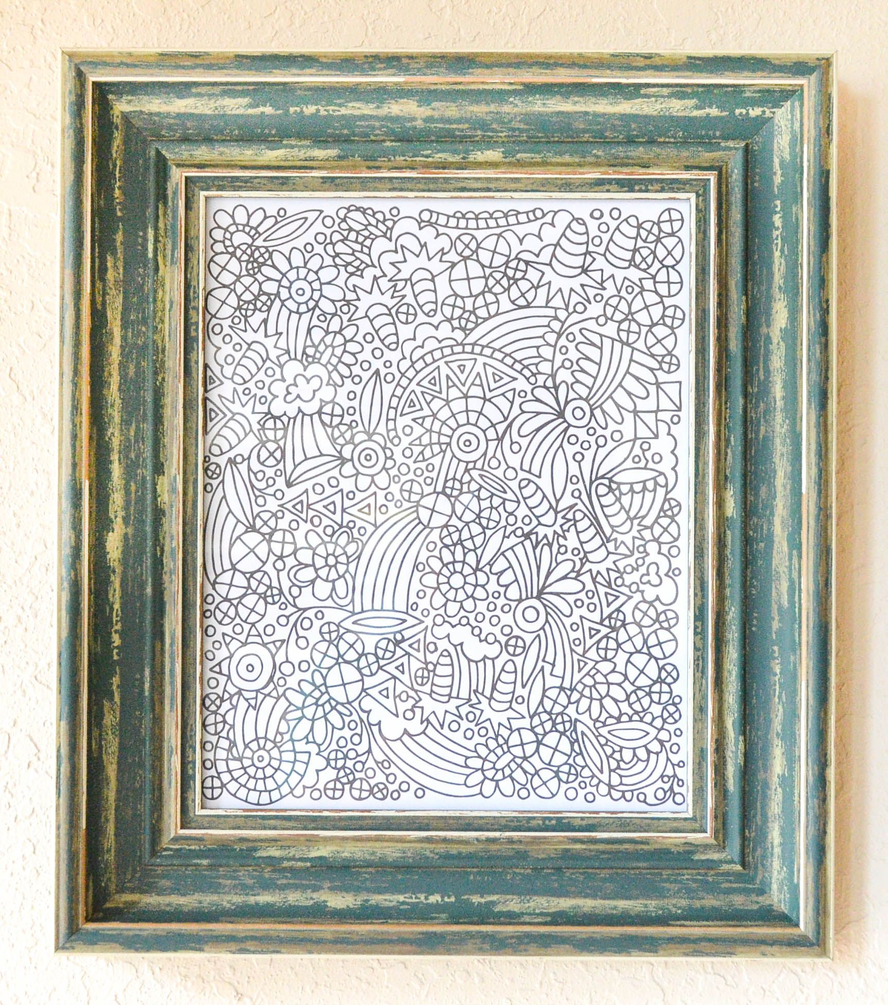 Simple Wall Art Framed Coloring Page From Off The Bookshelf Coloring Book Designed By Sarah Markos Coloring Books Simple Wall Art Coloring Pages
