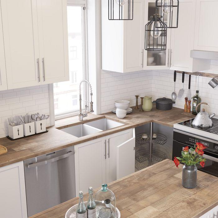 Ensemble De Cuisine En Coin 10 X 10 Blanc Mat Style Shaker Avec