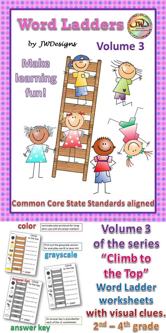 Word Ladders Vol 3 Word Ladders Common Cores And Worksheets