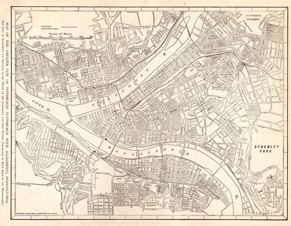 Antique PITTSBURGH Map Vintage Map Of Pittsburgh Pennsylvania - Pennsylvania in us map