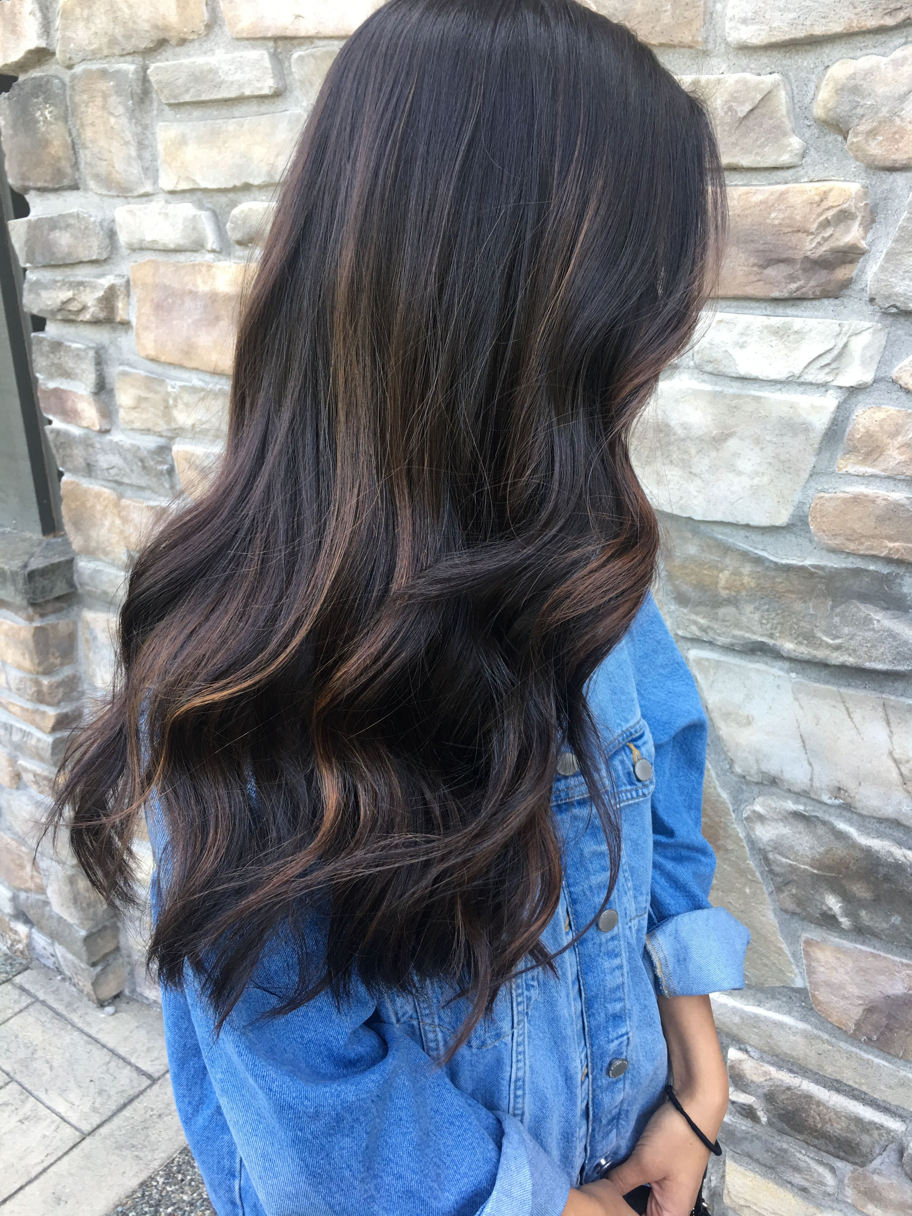 Subtle Dark Hair Caramel Balayage Long Hair Waves Long Hair Color Long Hair Styles