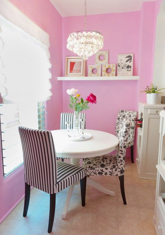 pink walls kitchen small breakfast area decor pink black white ...