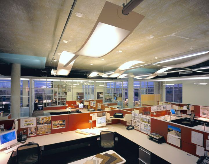 Open office concept with half-wall privacy. | Office ...