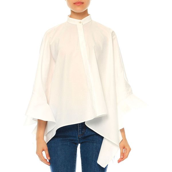 Valentino Ruffled Cotton Poncho Blouse ($497) ❤ liked on Polyvore featuring tops, blouses, white, cotton poncho, ruffle top, white poncho, ruffle blouse and white cotton tops