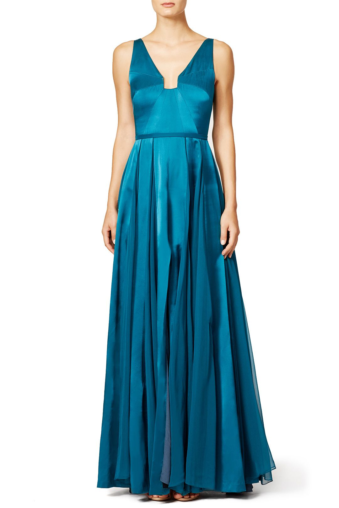 Teal Twirl Gown | Halston heritage, Teal and Gowns