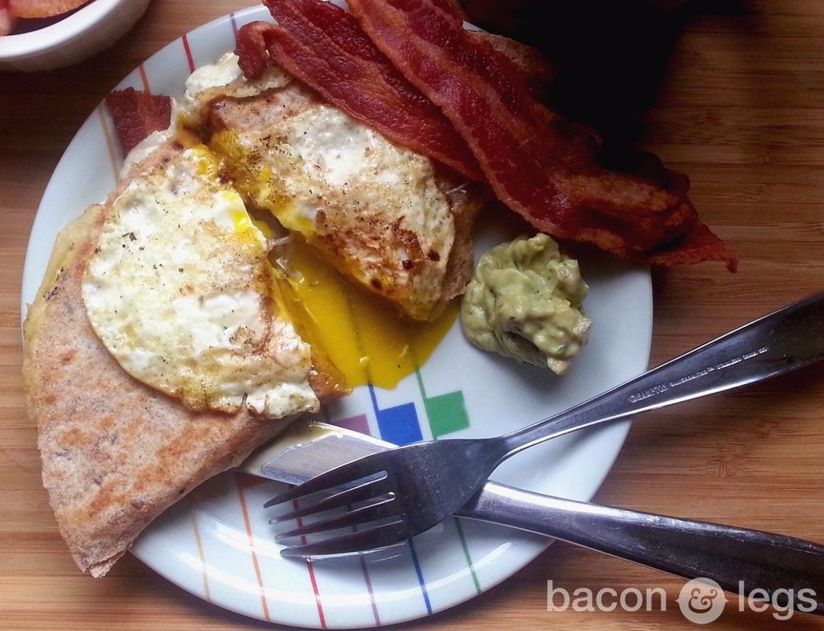 CHEESE ANY TIME. Goat Cheese and Bacon Breakfast Quesadilla