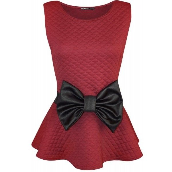 Hannah Quilted Look Bow Peplum Top (€18) ❤ liked on Polyvore featuring tops, shirts, tank tops, red, bow tank top, peplum tank, bow top, red tank and peplum shirt
