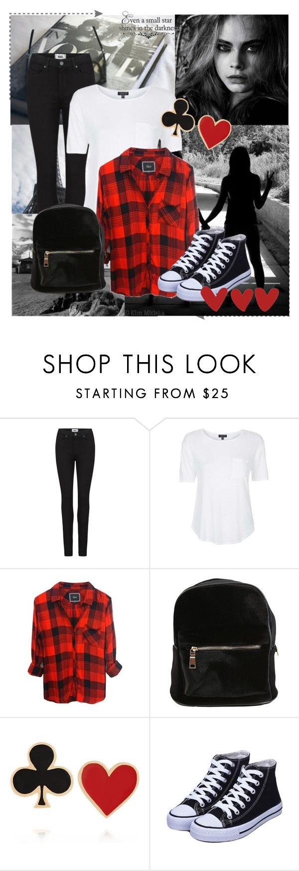 """""""Even a Small STAR SHINES in the darkness"""" by dhruvi5002 ❤ liked on Polyvore featuring Paige Denim, Topshop and Alison Lou"""