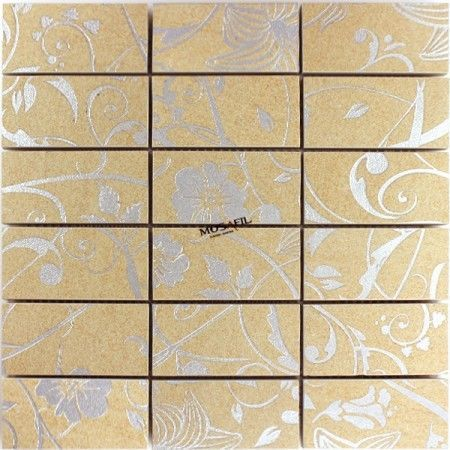 Teros Feinsteinzeug Mosaik Fliesen Ornament Flower Beige - fliesen beige