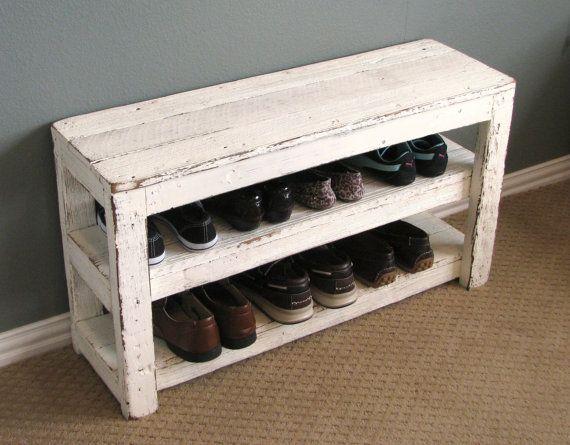 Rustic Shoe Shelf Entry Way Bench   Rústico, Bancos y Entrar