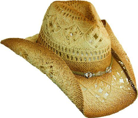 Amazon.com  Western Cowgirl Hat with clear Beads by Dorfman Pacific   Clothing 293769f0b4ae