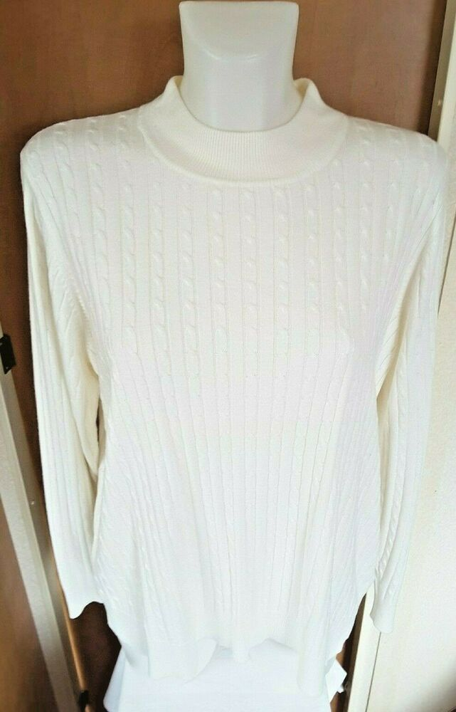 rich and magnificent diversified latest designs new list M&S Ladies White Cable Knit Turtle Polo Neck Jumper Size 22 ...