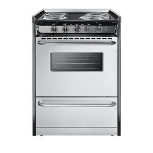 Summit Appliance 24 In 2 9 Cu Ft Slide In Electric Range In Stainless Steel Tem610brwy The Home Depot Electric Range Gas Range Slide In Range