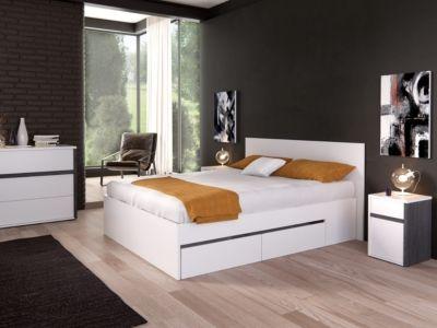 lit 140x190 cm avec tiroirs dorma blanc pot sur planche. Black Bedroom Furniture Sets. Home Design Ideas
