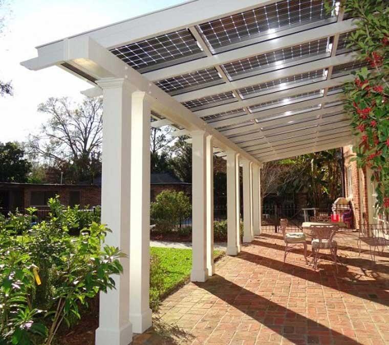 cubierta con placas solares Patio pequeño Pinterest Placas