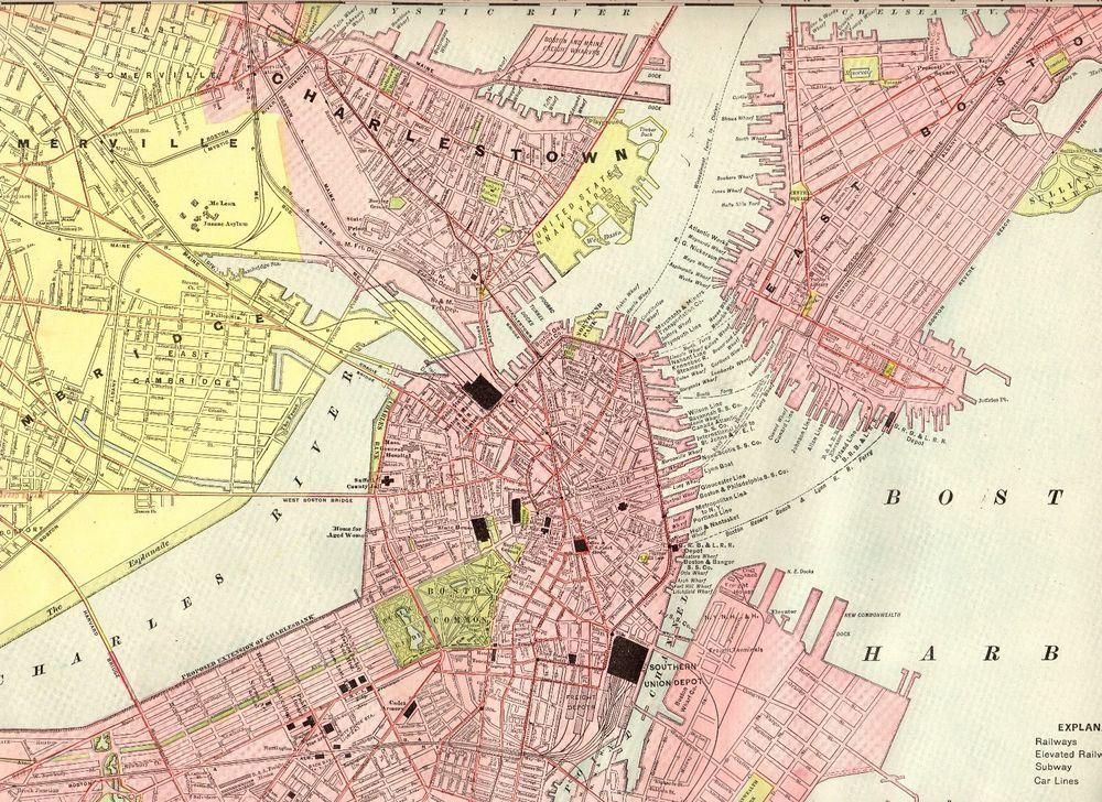 1906 Antique BOSTON MAP Rare Poster Print Size City Map of Boston ...