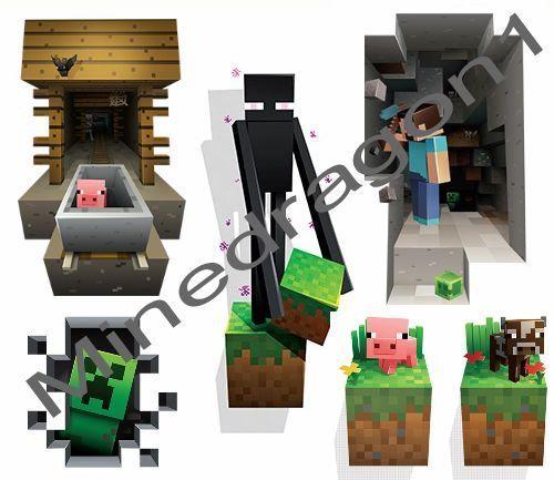 Minecraft Wall Cling Decal Sticker Mineshaft PIG Vinyl D Art Toy - 3d minecraft wall decals