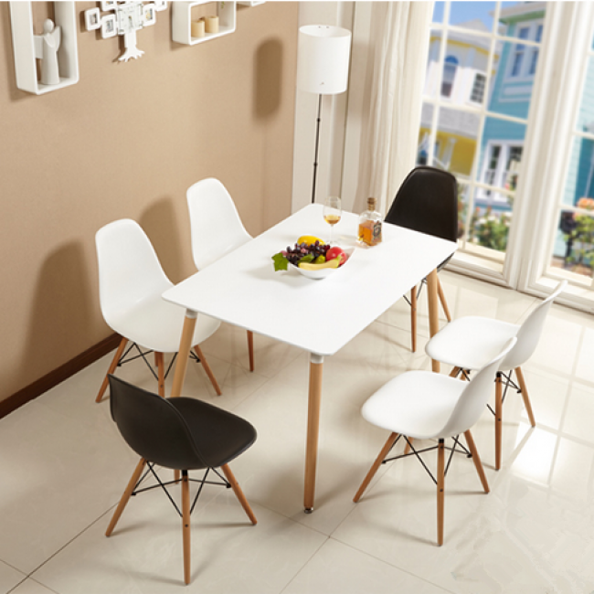 Eames Style Dsw White Rectangular Dining Table White Leather