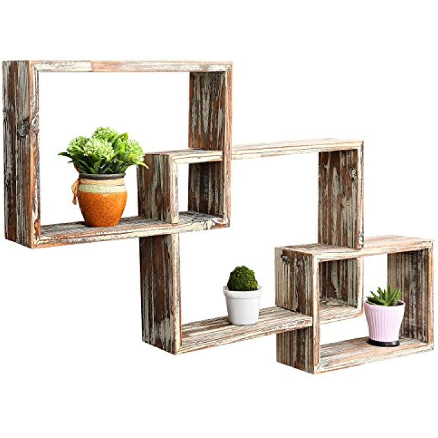Mygift Country Rustic 3 Tier Floating Box Shelves Decorative Wood Wall Mounted Display Shelf Brown Geometric Shelves Wall Mounted Bookshelves Box Shelves