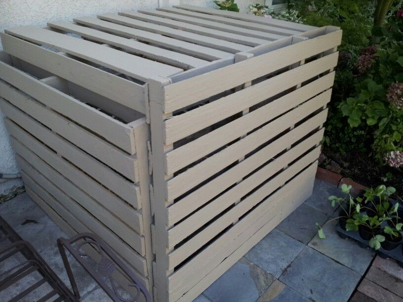 Air Conditioner Cover Made From 4 Pallets A Few Zip Ties And