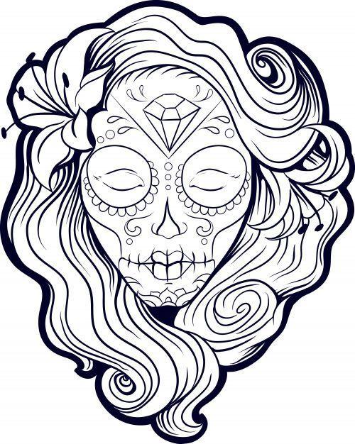 malvorlagen sugar skull girl  coloring pages for kid