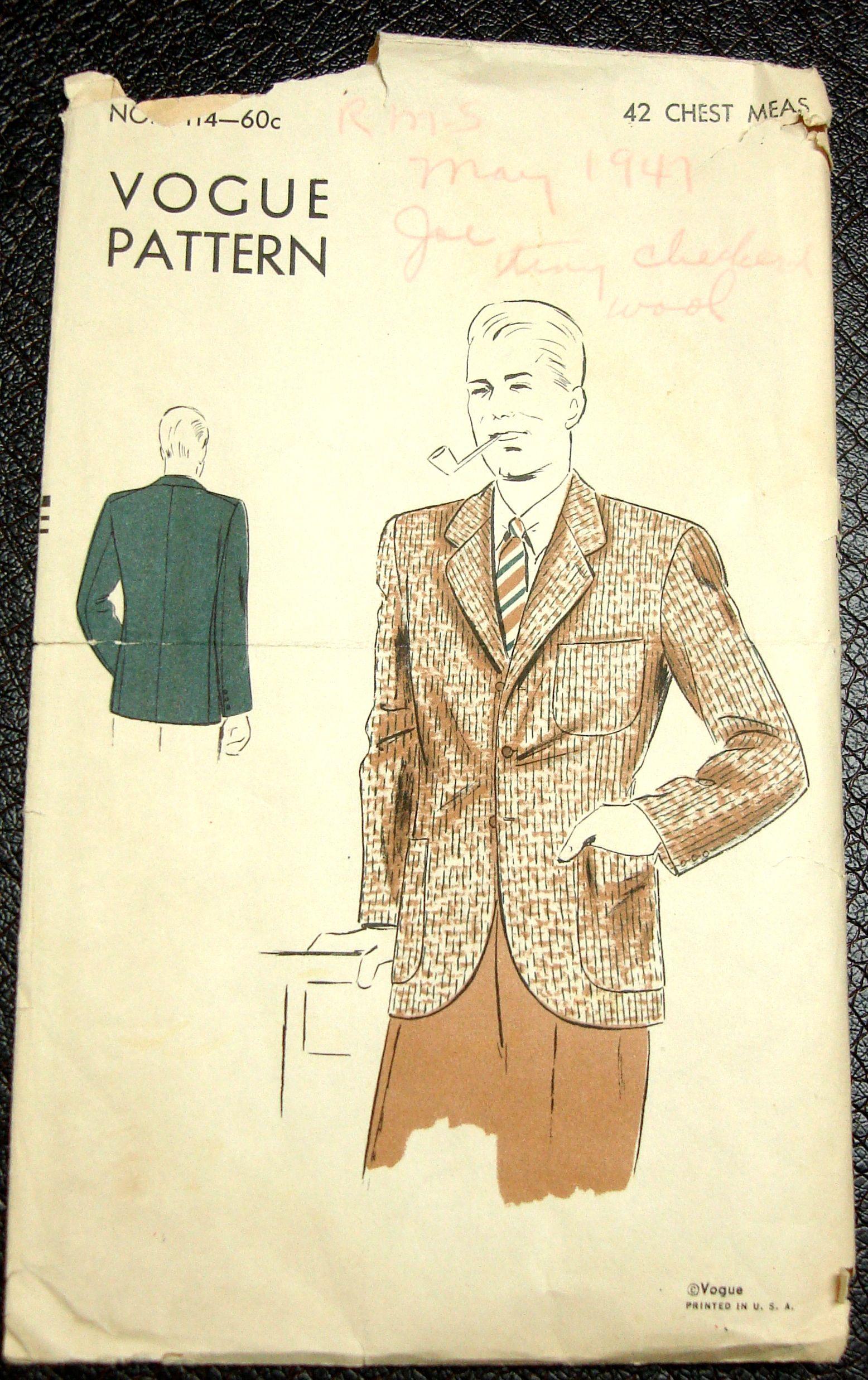 1940s Mens Sport Coat Sewing Pattern Vintage Vogue 9114 | mens ...