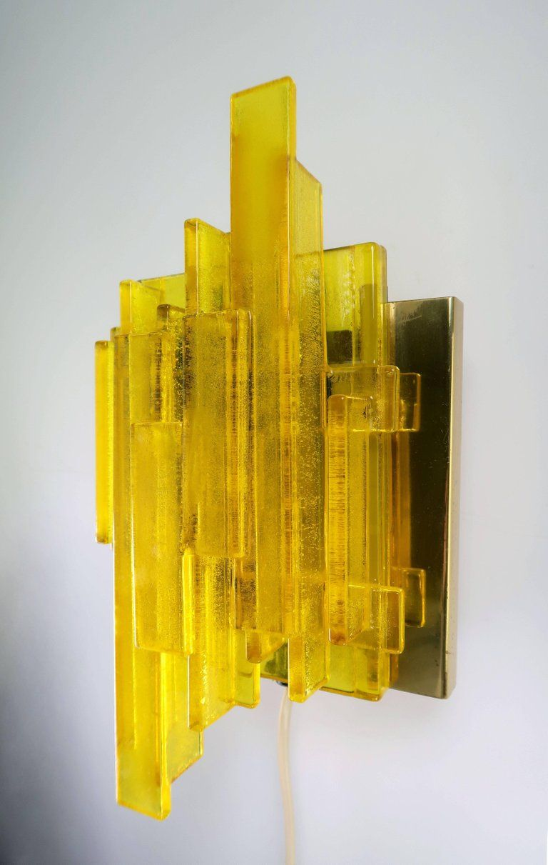 Two claus bolby danish midcentury space age yellow acrylic wall