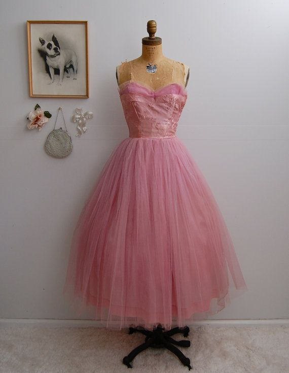 Vintage 1950s Prom Dress - 50s Tulle Dress - The Eloise | 1950s prom ...