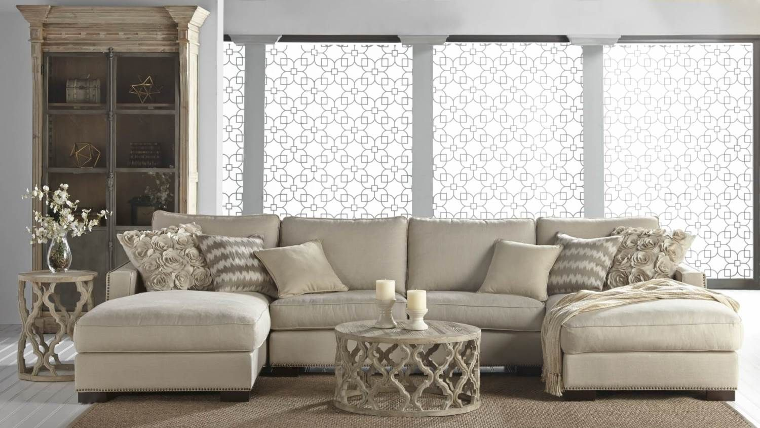 Clover Coffee End Tables Collins Modular Sectional In Oatmeal