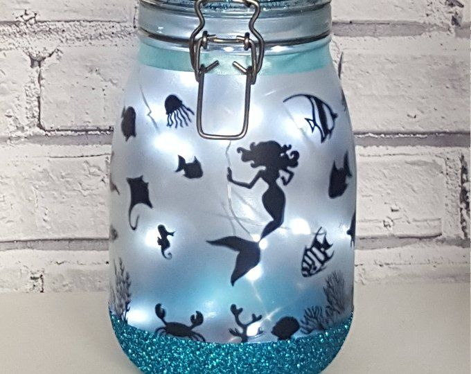 Mermaid jar Mermaid night light Mermaid decor Mermaid Bathroom decor Mermaid birthday party Mermaid mason jar with lights Beach gifts #mermaidbathroomdecor