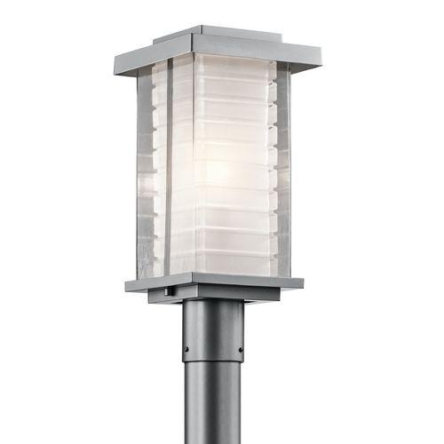 Kichler Lighting Kichler Modern Post Light With Clear Glass In Platinum Finish 49367pl Destination Outdoor Post Lights Lamp Post Lights Outdoor Lamp Posts