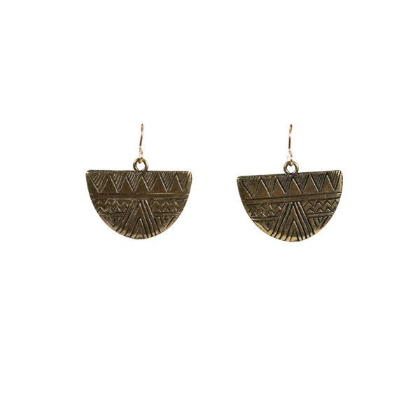Moon Illusion Earrings- Brass | Pigment