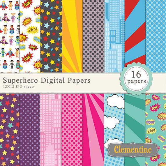 superhero scrapbook paper 12x12 comic book digital scrapbooking