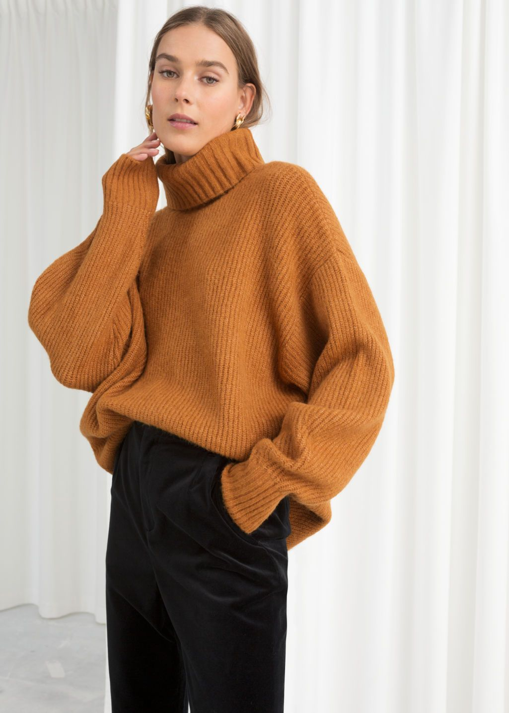 102f059384ba Model back image of Stories oversized turtleneck sweater in yellow