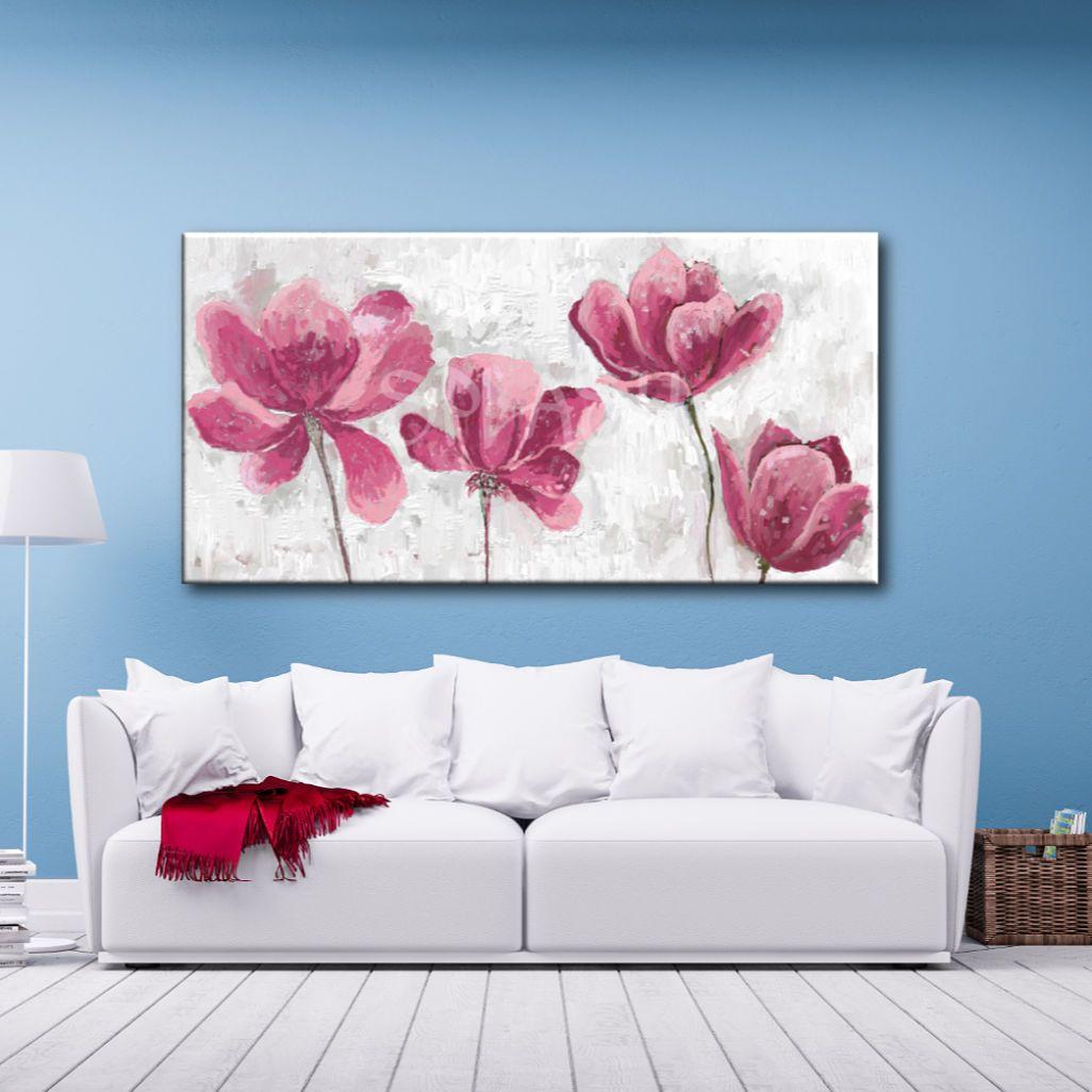 Cuadro Texturado De Flores Rosas En 2019 Cuadros De Flores