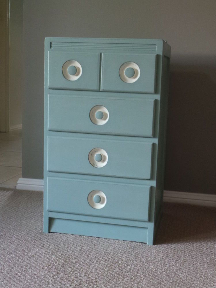 Shabby chic, retro, bedside chest of drawers