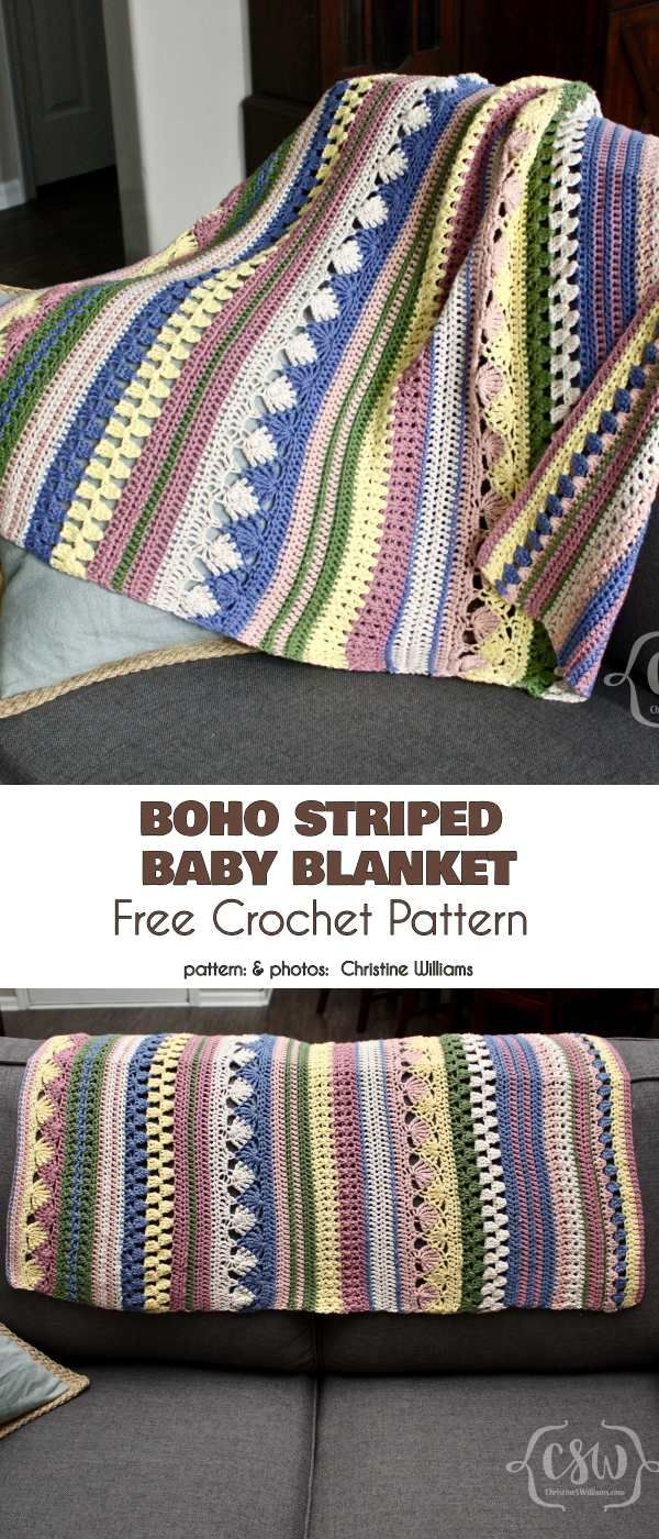 Boho Striped Baby Blanket Free Crochet Pattern #babyblanket