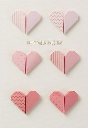 Folded Hearts Valentine\'s Day Card for Anyone   Pink paper, Paper ...
