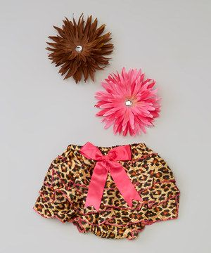 Look what I found on #zulily! Pink & Brown Bloomer & Clip Set - Infant by Lila #zulilyfinds