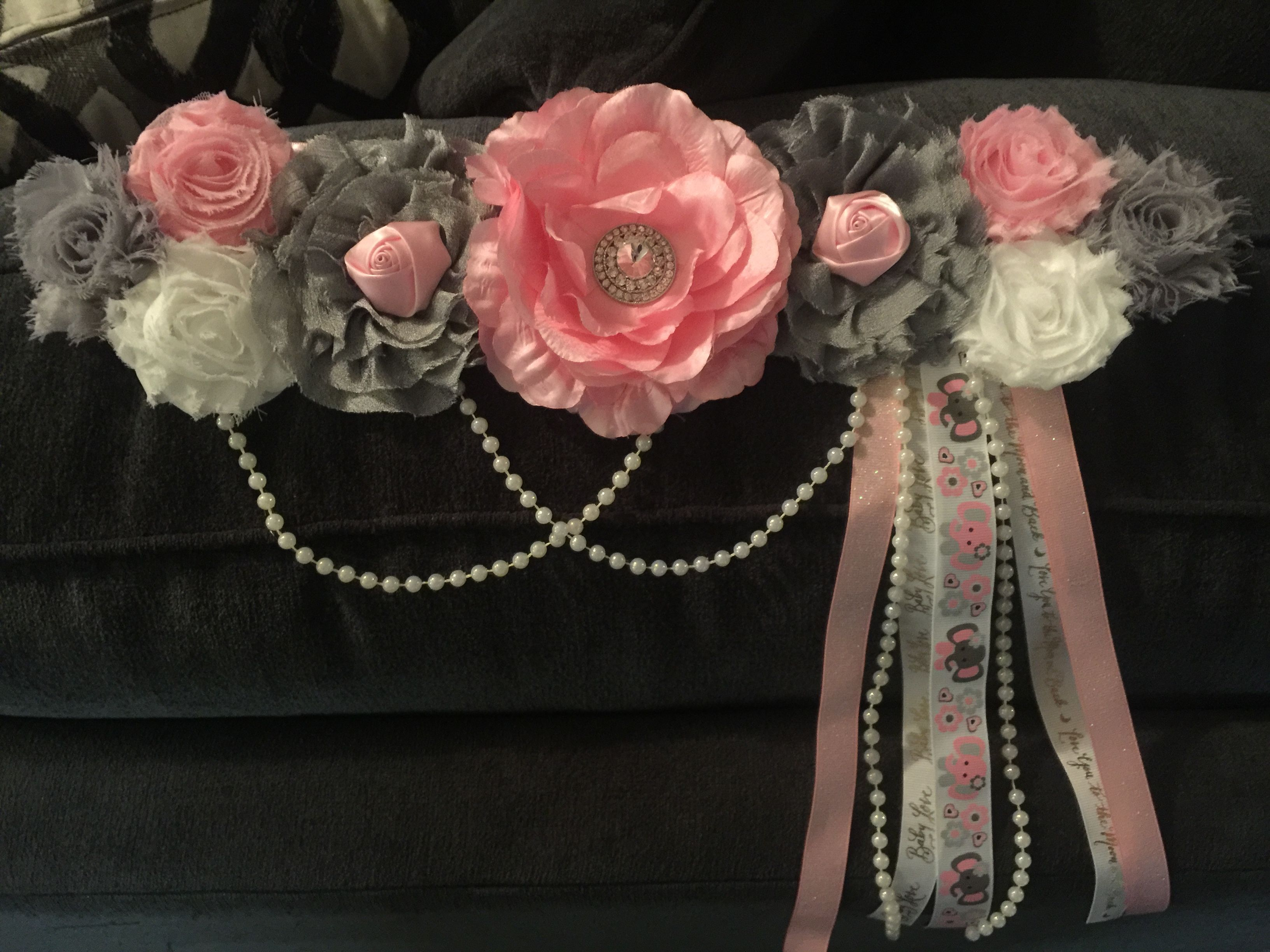 Pink gray white maternity sash for a baby shower with pearls