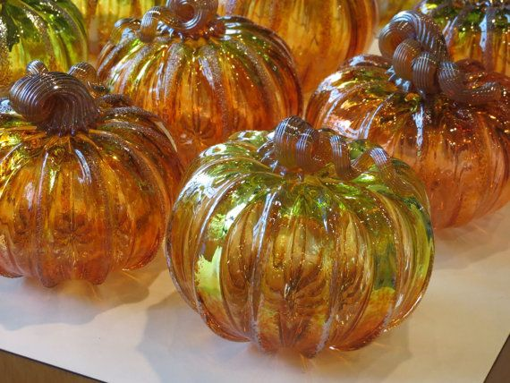 Wholesale Glass Pumpkins One Dozen Amber And By Avalonglassworks