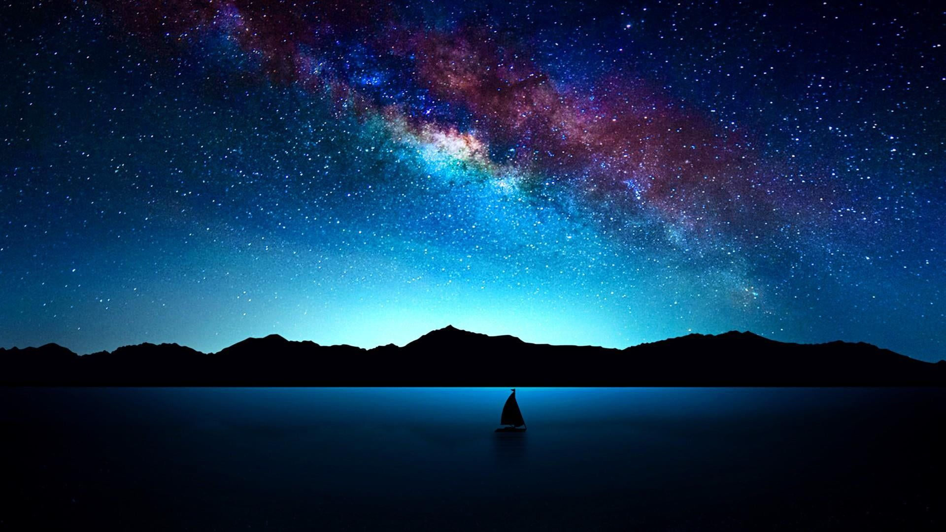 Silhouette Of Boat Illustration Night Starry Stars Milky Way Sky Night Sky Nature 1080p Wallpaper Hdw Milky Way Photography Milky Way Boat Illustration